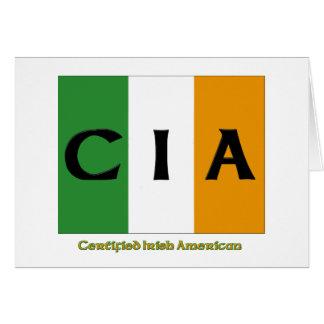 Americano irlandés certificado Cia Tarjeta De Felicitación