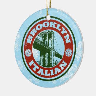 Americano italiano de Brooklyn del ornamento del Adorno Navideño Redondo De Cerámica