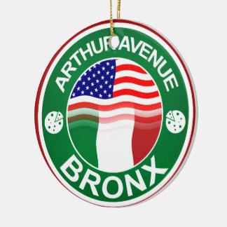 Americano italiano de la avenida Bronx de Arturo Adorno Navideño Redondo De Cerámica