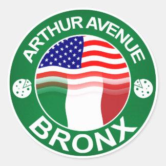 Americano italiano de la avenida Bronx de Arturo Pegatina Redonda