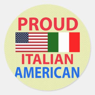 Americano italiano orgulloso etiquetas redondas