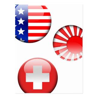 Americano, japonés y suizo, el mundo señala la pos tarjetas postales