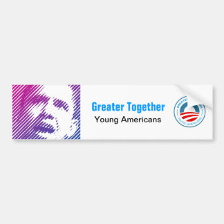 Americano joven para Obama 2012 Pegatina Para Auto