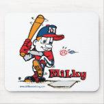 Americano lechoso del jugador de béisbol tapetes de ratón