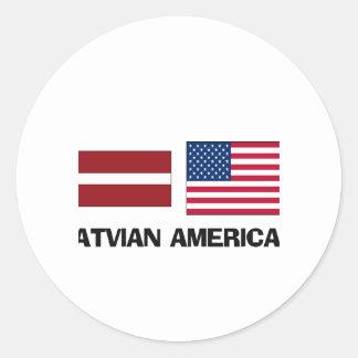 Americano letón etiquetas redondas