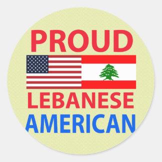 Americano libanés orgulloso pegatina redonda