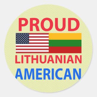 Americano lituano orgulloso pegatinas redondas