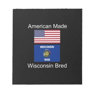 """""""Americano llevado. Wisconsin crió"""" diseño de la Bloc De Notas"""
