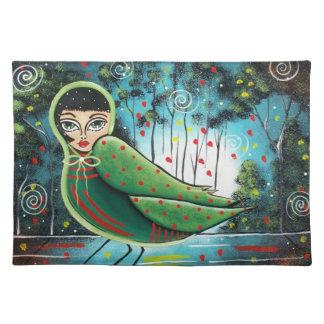 Americano MoJo Placemats de señora In Green BY LOR Mantel Individual