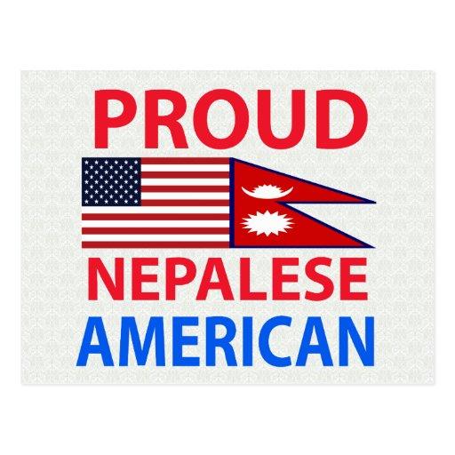 Americano nepalés orgulloso postal