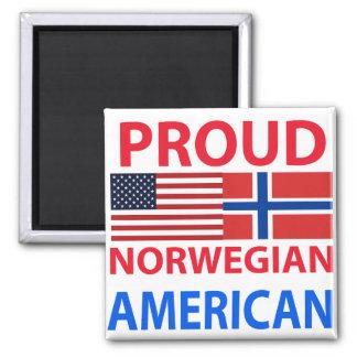 Americano noruego orgulloso imán cuadrado