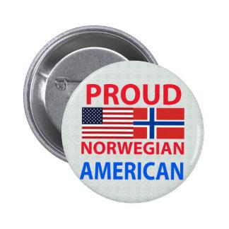 Americano noruego orgulloso pin redondo de 2 pulgadas