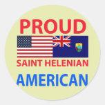 Americano orgulloso de Helenian del santo Pegatinas Redondas
