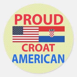 Americano orgulloso del croata pegatina redonda