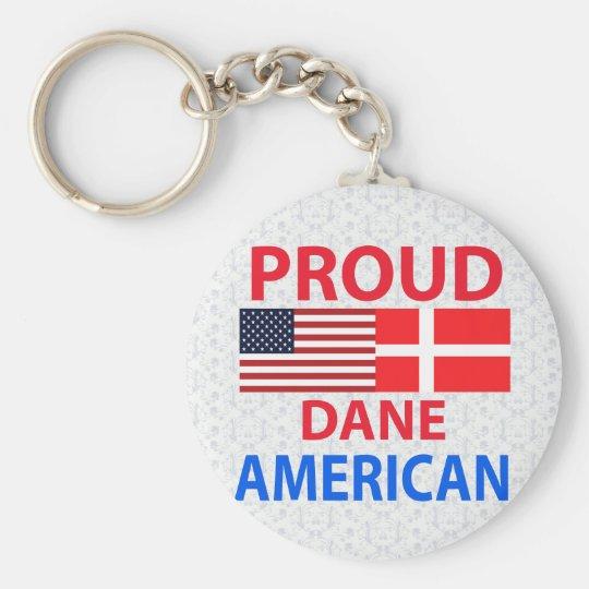 Americano orgulloso del danés llavero redondo tipo pin