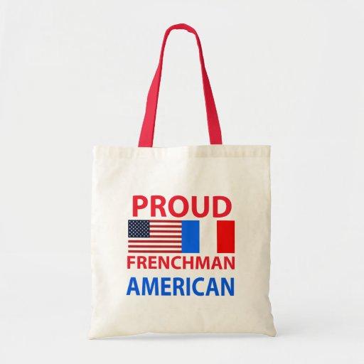 Americano orgulloso del francés bolsas lienzo