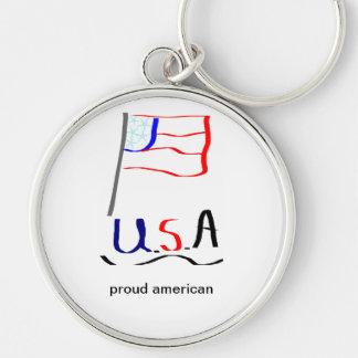 americano orgulloso llavero redondo plateado