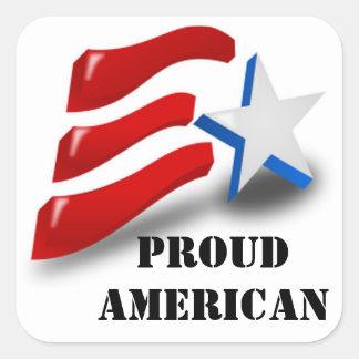 Americano orgulloso pegatina cuadrada
