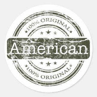 Americano original del ciento por ciento, por pegatinas redondas