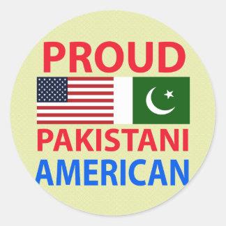 Americano paquistaní orgulloso etiquetas redondas