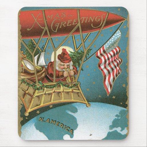 Americano pasado de moda Santa de los saludos de N Tapete De Ratón