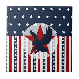 Americano patriótico de Eagle calvo de las barras  Azulejo Cuadrado Pequeño