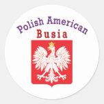 Americano polaco Busia Etiquetas Redondas