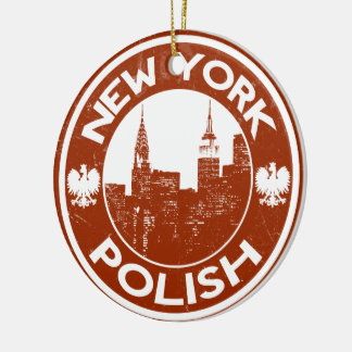 Americano polaco de Nueva York Adorno Navideño Redondo De Cerámica
