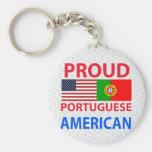 Americano portugués orgulloso llavero redondo tipo pin