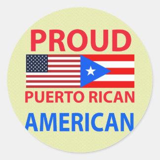 Americano puertorriqueño orgulloso pegatina redonda