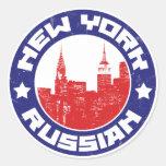 Americano ruso de Nueva York Pegatina Redonda