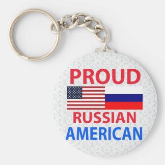 Americano ruso orgulloso llavero redondo tipo pin