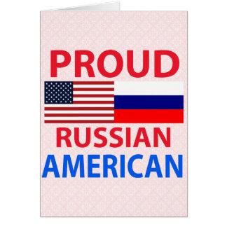 Americano ruso orgulloso tarjeta de felicitación