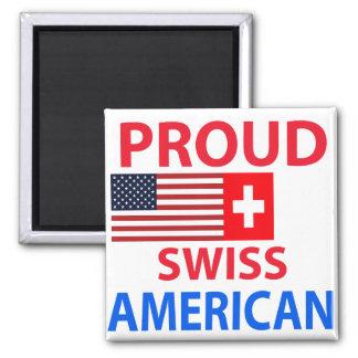 Americano suizo orgulloso imán cuadrado
