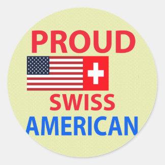 Americano suizo orgulloso pegatina redonda