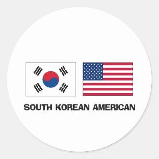 Americano surcoreano pegatina redonda