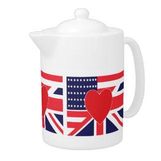 Americano y bandera de Union Jack