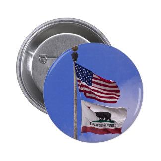 AMERICANO Y banderas del ESTADO de CALIFORNIA Pin Redondo De 2 Pulgadas
