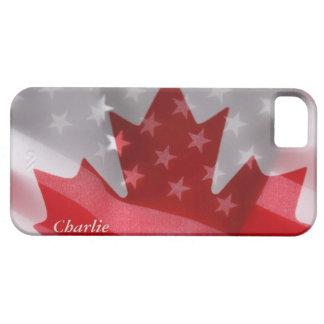 Americano y canadiense señala la caja del iPhone iPhone 5 Funda