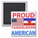 Americano yugoslavo orgulloso imán cuadrado