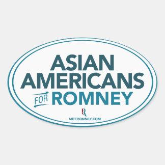 Americanos asiáticos para el pegatina del óvalo de