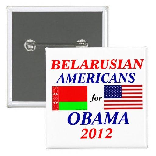 Americanos bielorrusos para Obama Pin Cuadrado