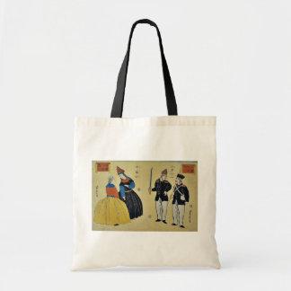 Americanos, franceses por Utagawa, Yoshitora Bolsa Tela Barata