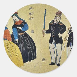 Americanos, franceses por Utagawa, Yoshitora Etiqueta Redonda