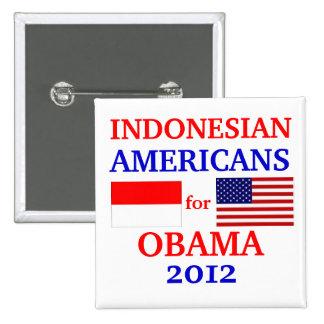 Americanos indonesios para Obama Pin Cuadrada 5 Cm