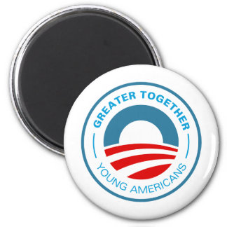 Americanos jovenes para Obama Imán Redondo 5 Cm