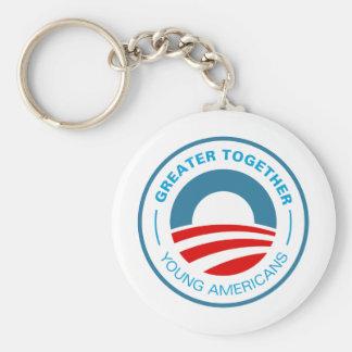 Americanos jovenes para Obama Llavero Redondo Tipo Pin