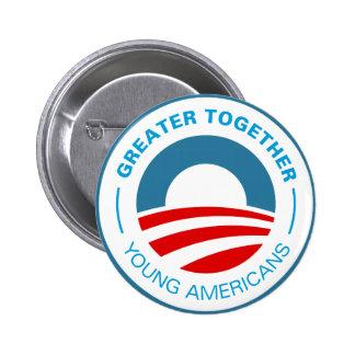 Americanos jovenes para Obama Pin Redondo De 2 Pulgadas
