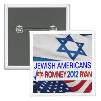 Americanos judíos para el botón de Romney Ryan Pin Cuadrado
