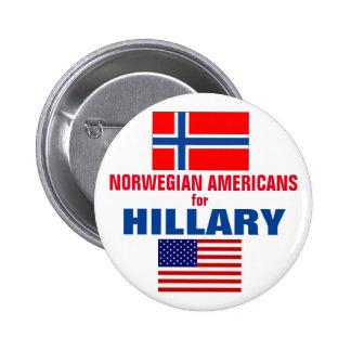 Americanos noruegos para Hillary 2016 Pin Redondo De 2 Pulgadas